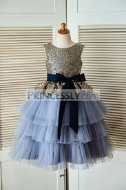 gold sequin blue cupcake tulle wedding flower dress with navy