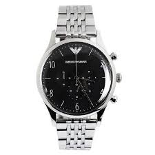 armani watches bracelet images Emporio armani chronograph silver bracelet black face men 39 s watch jpg