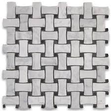 Marble Mosaic Floor Tile Carrara White 1x2 Dogbone Wicker Weave Mosaic Tile W Black Dots