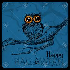 halloween owl background halloween card cute hand drawn owl perching on branch spooky