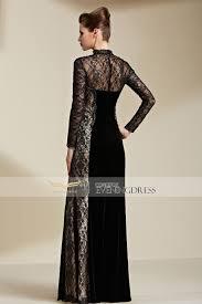noir lace beading high collar long sleeve zipper long evening