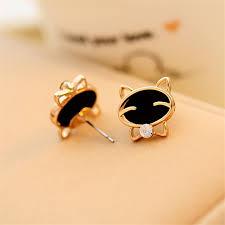 cat earrings black smile cat earrings shopping loco