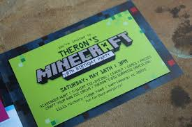 minecraft birthday party ideas and invitations