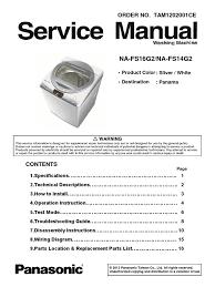 na fs16g2 14g2 panasonic washing machine service manual printed