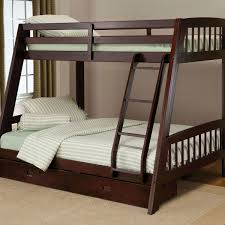 twin over full bunk bed with ladder and storage drawers in