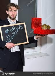 bearded businessman with valentine presents u2014 stock photo