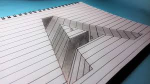 drawing a hole in line paper with alphabet capital letter a 3d