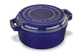 Sapphire Blue Staub Braise U0026 Grill Round Dutch Oven With Grill Pan Lid 7 Quart