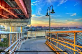portland maine city skyline casco bay bridge at park