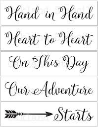 wedding sayings for signs wedding stencils in with arrow set of 5 stencils for
