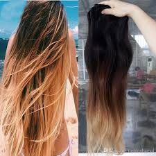 ombre clip in hair extensions ombre clip in remy human hair extensions t1b 4 27 three tone