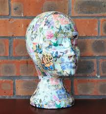 shabby chic decoupaged mannequin head wig hat display head