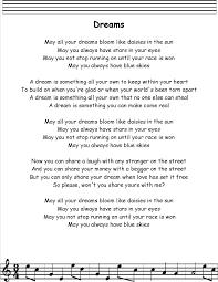 dreams lyrics printout midi and
