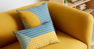 ida printed triangle cushion 30 x 50cm blue multi made com