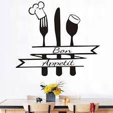 autocollant cuisine français bon appetit citation de mur autocollant cuisine couverts