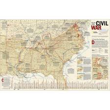 battles of the civil war wall map national geographic store