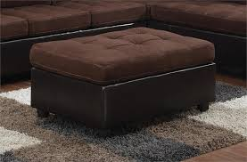 Microfiber Ottomans Chocolate Microfiber Reversible Sectional Mallory Collection