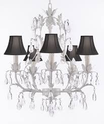 White Chandelier With Shades G7 Sc White 407 5 White Wrought Iron Chandelier Lighting Crystal