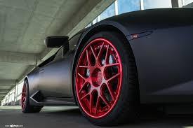 Lamborghini Huracan Custom - black lamborghini huracan with red custom rims by avant garde