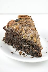 vegan german chocolate cake with coconut pecan frosting
