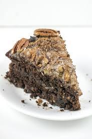 vegan german chocolate cake with coconut pecan frosting