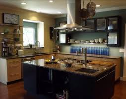 kitchen blurred glass floating cabinets over metal pottery rack