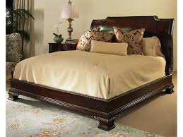 Headboards Bed Frames Brown Wooden Bed Frame With Headboard And Beige Bed Sheet On
