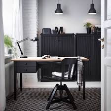 Ikea Office Storage Home Office With A Grey Desk Bookcases And A Swivel Chair With