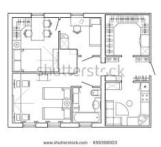 layout apartment architectural plan house layout apartment furniture stock vector