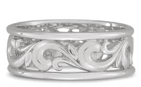 carved wedding band paisley carved wedding band in 14k white gold