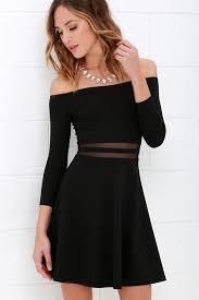 black skater dress black dress skater dress mesh dress the shoulder