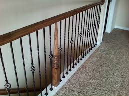 decor wrought iron spindles balcony fence with carved newel brown