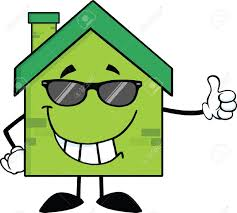 green eco house cartoon character with sunglasses giving a thumb