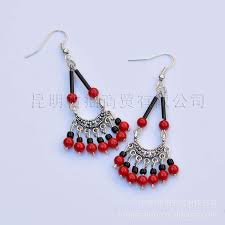 home made earrings free shipping ethnic tibetan bead earrings hang month earrings