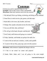 comma worksheet worksheets punctuation and have fun