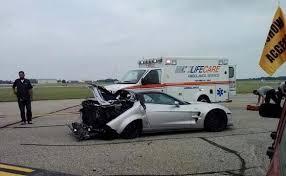 corvette zr1 burnout corvette zr1 crashes after celebratory burnout at the