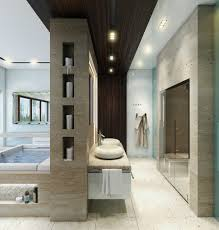 contemporary bathroom designs exposed gray and white color decor