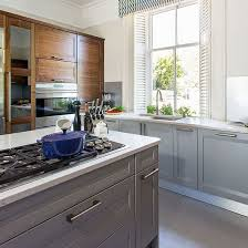 pale grey kitchen with painted island gray kitchens island