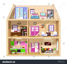 detailed colorful home interior modern vector stock vector