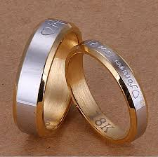 couples ring sets forever rings set 18k gold plated steel two tone