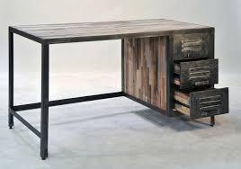 bureau bois recyclé achat bureau de style industriel grand bureau de 140 cm de
