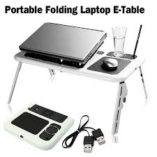 Folding Laptop Desk Adjustable Folding Laptop Table E Table With Tray Cooling Fans