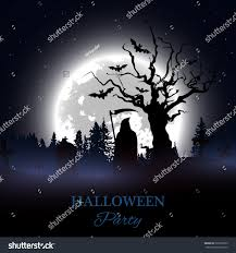 halloween party poster background spooky graveyard stock vector