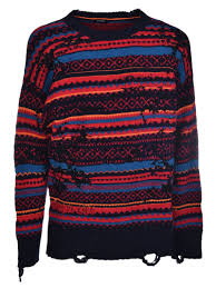 diesel diesel distressed sweater multicolor men u0027s sweaters