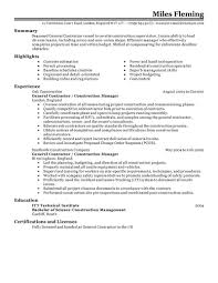 Construction Superintendent Resume Examples by Construction Resumes 10 General Contractor Resume Example