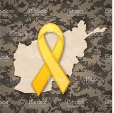 afghanistan ribbon afghanistan veteran yellow ribbon stock vector more