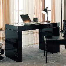 desk minimalist rectangle black wooden desk with drawer and double bases on grey