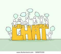 sketch working little people speech bubbles stock vector 569975350