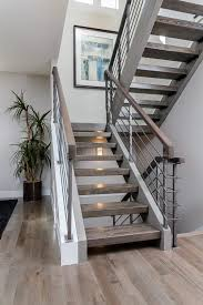 Wood Banisters And Railings Custom Floating Stair Case With Hardwood Treads And A Metal Rail