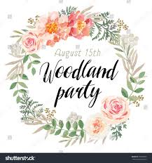 Floral Invitation Card Designs Floral Wreath Message Woodland Party Pink Stock Vector 656226082